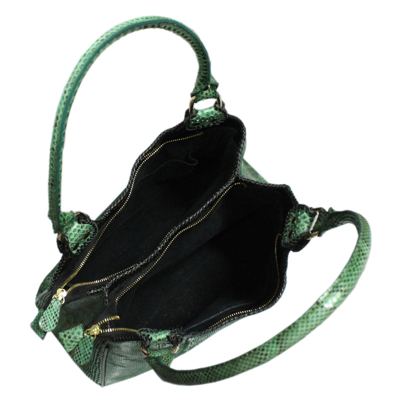 Python Leather Handbag T007a