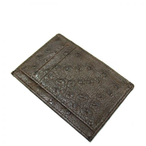 Ostrich Leather Card Wallet E964a