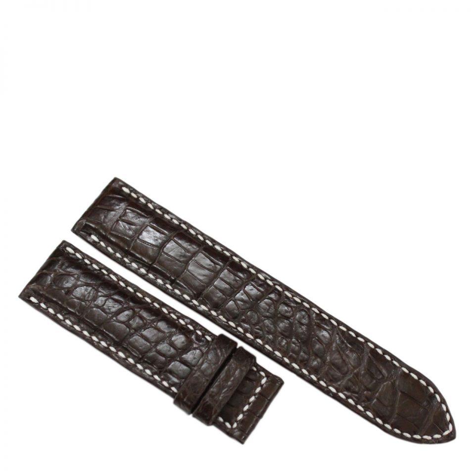 Dây đồng hồ da cá sấu may tay S913b