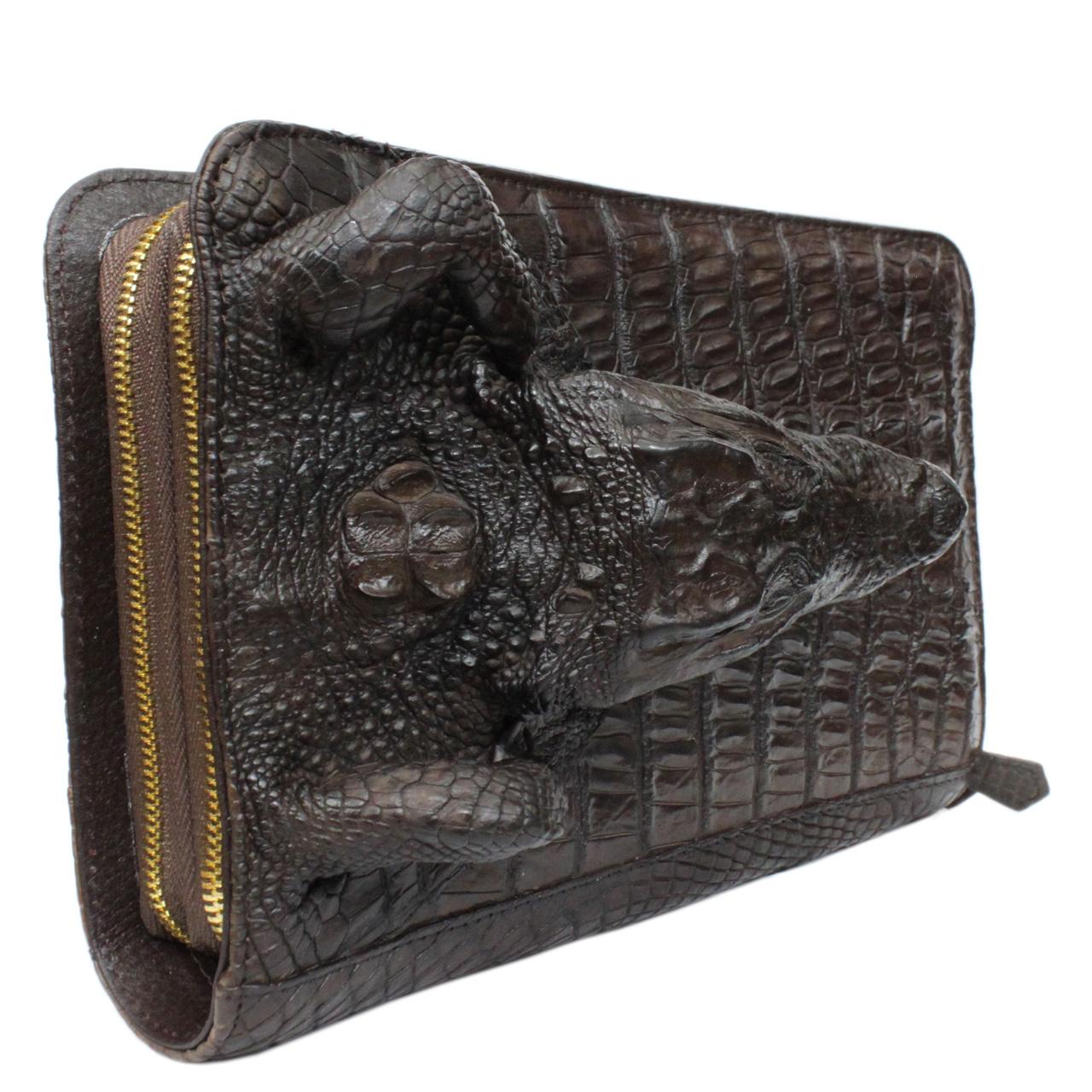 Ví dài cầm tay da cá sấu S482a