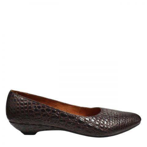 Giày gót thấp da cá sấu S762a