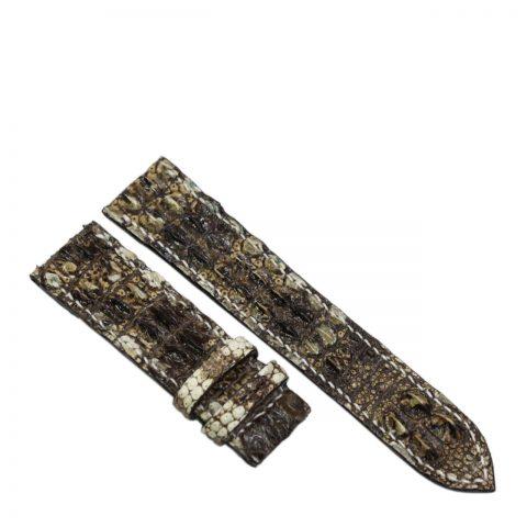 Dây đồng hồ da cá sấu nguyên thủy may tay S934